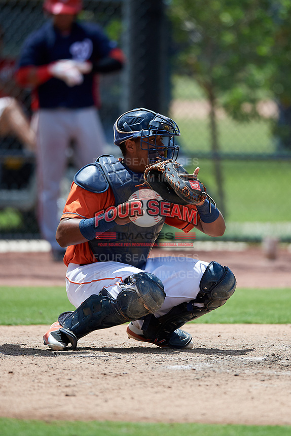 GCL Astros catcher Nerio Rodriguez (52) during a game against the GCL Nationals on August 6, 2018 at FITTEAM Ballpark of the Palm Beaches in West Palm Beach, Florida.  GCL Astros defeated GCL Nationals 3-0.  (Mike Janes/Four Seam Images)