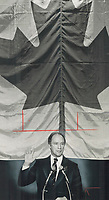 Serious about Quebec, yet humorous about the Argos, Prime Minister Pierre Trudeau was expressive at biggest party fund raising dinner<br /> <br /> 1978<br /> <br /> PHOTO :  Doug Griffin - Toronto Star Archives - AQP
