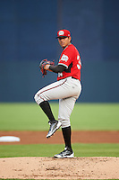 Carolina Mudcats starting pitcher Enderson Franco (34) during a game against the Frederick Keys on June 4, 2016 at Nymeo Field at Harry Grove Stadium in Frederick, Maryland.  Frederick defeated Carolina 5-4 in eleven innings.  (Mike Janes/Four Seam Images)