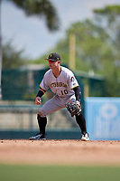 Pittsburgh Pirates Wyatt Mathisen (10) during an Instructional League game against the Baltimore Orioles on September 27, 2017 at Ed Smith Stadium in Sarasota, Florida.  (Mike Janes/Four Seam Images)