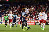 Harrison, NJ - Wednesday Feb. 22, 2017: Erik Hurtado, Aurelien Collin during a Scotiabank CONCACAF Champions League quarterfinal match between the New York Red Bulls and the Vancouver Whitecaps FC at Red Bull Arena.