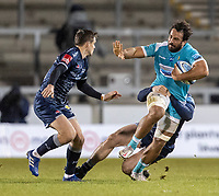 8th January 2021; AJ Bell Stadium, Salford, Lancashire, England; English Premiership Rugby, Sale Sharks versus Worcester Warriors; Marco Mama of Worcester Warriors is tackled by AJ Macginty of Sale Sharks