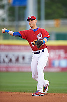 Buffalo Bisons second baseman Andy Burns (8) throws to first during a game against the Louisville Bats on June 20, 2016 at Coca-Cola Field in Buffalo, New York.  Louisville defeated Buffalo 4-1.  (Mike Janes/Four Seam Images)