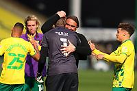 1st May 2021; Carrow Road, Norwich, Norfolk, England, English Football League Championship Football, Norwich versus Reading; Norwich City Manager Daniel Farke celebrates winning the EFL Championship with Tim Krul