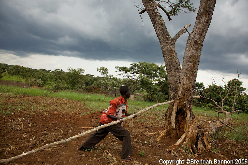 A man constructing  a shelter for his family in Nyori refugee camp, South Sudan..