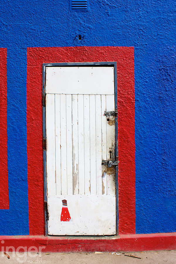 Red and White Door on building at Bethanie, Namibia