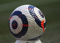 24th April 2021; Anfield, Liverpool, Merseyside, England; English Premier League Football, Liverpool versus Newcastle United; a Nike Arrow match ball on its stand in front of the Kop
