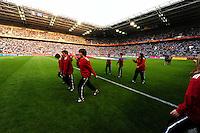 Fifa Women's World Cup Germany 2011 : France - Germany ( Frankrijk - Duitsland ) at Munchengladbach World Cup stadium : opkomst van de Franse vlag in het stadion.foto DAVID CATRY / Vrouwenteam.be
