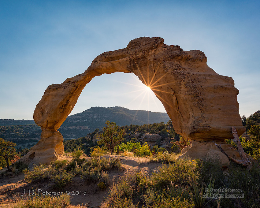 Cox Canyon Arch, New Mexico ©2016 James D Peterson.  In terms of fragility, this arch rivals Utah's much better known Delicate Arch.  This one is somewhat smaller and much more remote, however.   It was captured just before sunset in rural San Juan County, New Mexico.