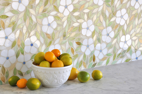 Jacqueline, a jewel glass waterjet mosaic shown in Absolute white, Chalcedony, Peridot, and Quartz/Agate, is part of the Silk Road® collection by New Ravenna.
