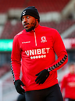 Middlesbrough's Britt Assombalonga warms up before the match<br /> <br /> Photographer Alex Dodd/CameraSport<br /> <br /> The EFL Sky Bet Championship - Middlesbrough v Norwich City - Saturday 21st November 2020 - Riverside Stadium - Middlesbrough<br /> <br /> World Copyright © 2020 CameraSport. All rights reserved. 43 Linden Ave. Countesthorpe. Leicester. England. LE8 5PG - Tel: +44 (0) 116 277 4147 - admin@camerasport.com - www.camerasport.com