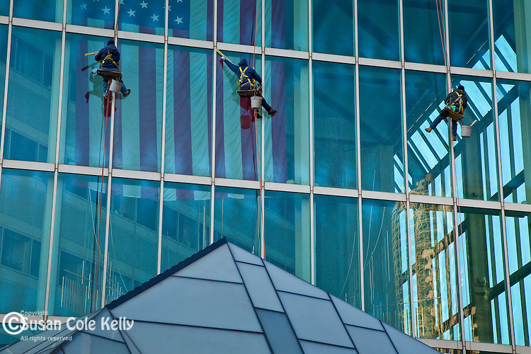 Window washers on the Financial Place building in the Financial District of Boston, MA, USA
