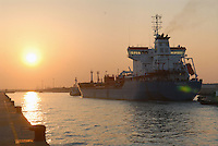 - oil tanker ship entering in harbor....- nave petroliera entra in porto