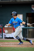 Akron RubberDucks second baseman Mark Mathias (12) hits a single during a game against the Harrisburg Senators on August 18, 2018 at FNB Field in Harrisburg, Pennsylvania.  Akron defeated Harrisburg 5-1.  (Mike Janes/Four Seam Images)