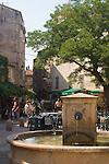 town fountain, Saint Florent, Haut Corse, village scene, Corsica, France, Mediterranean Coast,