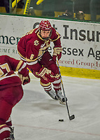 19 February 2016: Boston College Eagle Defenseman Steve Santini, a Junior from Mahopac, NY, in action during the third period against the University of Vermont Catamounts at Gutterson Fieldhouse in Burlington, Vermont. The Eagles defeated the Catamounts 3-1 in the first game of their weekend series. Mandatory Credit: Ed Wolfstein Photo *** RAW (NEF) Image File Available ***