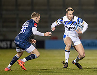 12th February 2021; AJ Bell Stadium, Salford, Lancashire, England; English Premiership Rugby, Sale Sharks versus Bath; Max Clark of Bath Rugby makes a break past Connor Doherty of Sale Sharks