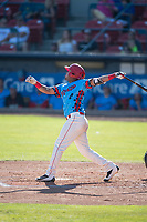Spokane Indians second baseman Cristian Inoa (4) follows through on his swing during a Northwest League game against the Vancouver Canadians at Avista Stadium on September 2, 2018 in Spokane, Washington. The Spokane Indians defeated the Vancouver Canadians by a score of 3-1. (Zachary Lucy/Four Seam Images)