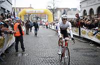 Jasper Stuyven (BEL/Trek-Segafredo) on his way to the start in the streets of Bruges<br /> <br /> 100th Ronde van Vlaanderen 2016
