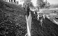 Philipp Walsleben (DEU/Beobank-Corendon) on the slippery river bank during the Elite Men's course recon <br /> <br /> Soudal Jaarmarktcross Niel 2016