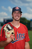 Elizabethton Twins pitcher Zach Neff (21) poses for a photo before a game against the Bristol Pirates on July 29, 2018 at Joe O'Brien Field in Elizabethton, Tennessee.  Bristol defeated Elizabethton 7-4.  (Mike Janes/Four Seam Images)