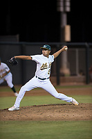 AZL Athletics relief pitcher Jorge Martinez (51) delivers a pitch during an Arizona League game against the AZL Giants Orange at Lew Wolff Training Complex on June 25, 2018 in Mesa, Arizona. AZL Giants Orange defeated the AZL Athletics 7-5. (Zachary Lucy/Four Seam Images)