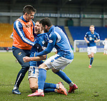 St Johnstone v Livingston…..07.03.20   McDiarmid Park  SPFL<br />Callum Hendry celebrates his goal withn Callum Booth and Drey Wright<br />Picture by Graeme Hart.<br />Copyright Perthshire Picture Agency<br />Tel: 01738 623350  Mobile: 07990 594431
