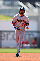 Tennessee Smokies outfielder Rubi Silva (24) runs the bases after hitting a home run during a game against the Birmingham Barons on April 21, 2014 at Regions Field in Birmingham, Alabama.  Tennessee defeated Birmingham 10-5.  (Mike Janes/Four Seam Images)