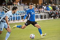 SAN JOSE, CA - MAY 22: Paul Marie #3 of the San Jose Earthquakes passes the ball during a game between San Jose Earthquakes and Sporting Kansas City at PayPal Park on May 22, 2021 in San Jose, California.