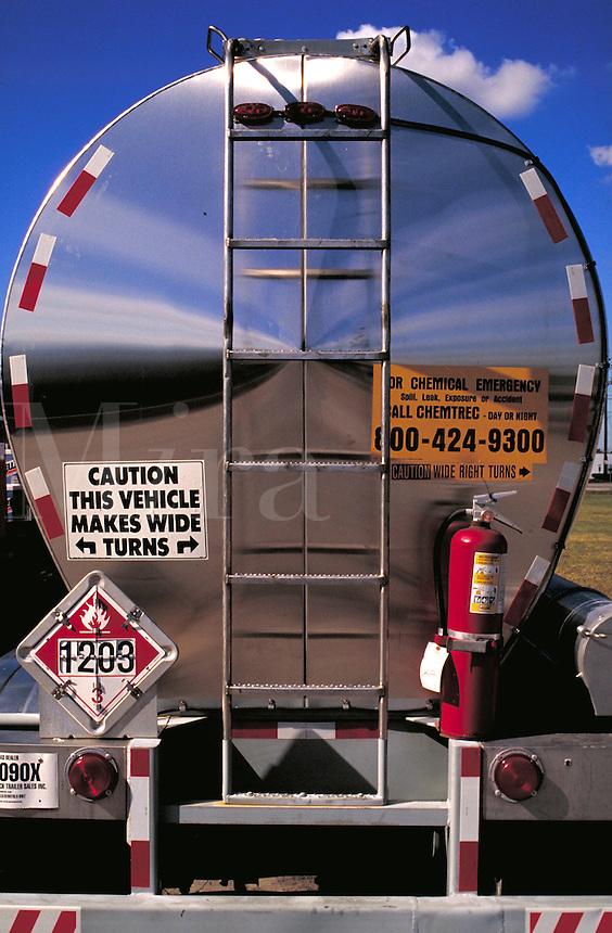 rear view of petrolium tank truck