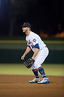 Scottsdale Scorpions first baseman Peter Alonso (20), of the New York Mets organization, during an Arizona Fall League game against the Salt River Rafters at Scottsdale Stadium on October 12, 2018 in Scottsdale, Arizona. Scottsdale defeated Salt River 6-2. (Zachary Lucy/Four Seam Images)