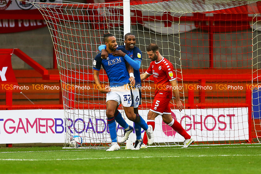 Rhys Bennett (32) of Carlisle United scores the first goal for his team and celebrates during Crawley Town vs Carlisle United, Sky Bet EFL League 2 Football at Broadfield Stadium on 21st November 2020