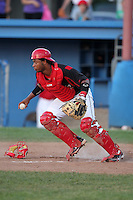 Batavia Muckdogs catcher Audry Perez (4) during a game vs. the Jamestown Jammers at Dwyer Stadium in Batavia, New York July 17, 2010.   Jamestown defeated Batavia 5-2.  Photo By Mike Janes/Four Seam Images