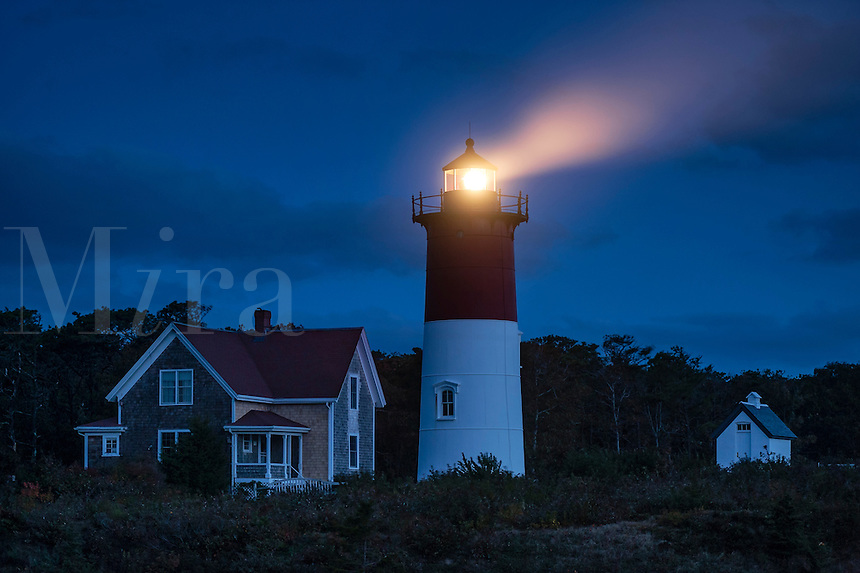Nauset Light shines at night, Cape Cod National Seashore, Eastham, Cape Cod, MA, USA