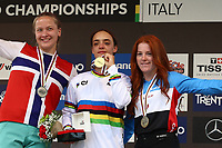 29th August 2021; Commezzadura, Trentino, Italy; 2021 Mountain Bike Cycling World Championships, Val di Sole; Downhill;  Downhill final, podium junior women, Kine HAUGOM  NOR, Izabela YANKOVA  BUL, Gracey HEMSTREET CAN
