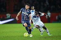 Thiago Silva (PSG) vs Bafetimbi Gomis (Lyon)  .Football Calcio 2012/2013.Ligue 1 Francia.Foto Panoramic / Insidefoto .ITALY ONLY