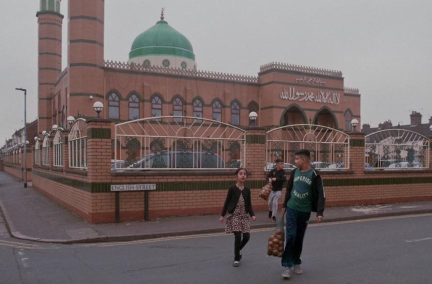 Masjid Ghousia Mosque on the corner of English Street, Peterborough, UK.