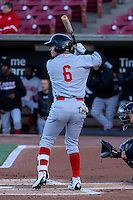 Great Lakes Loons infielder Omar Estevez (6) at bat during a Midwest League game against the Wisconsin Timber Rattlers on April 26th, 2016 at Fox Cities Stadium in Appleton, Wisconsin.  Wisconsin defeated Great Lakes 4-3. (Brad Krause/Four Seam Images)
