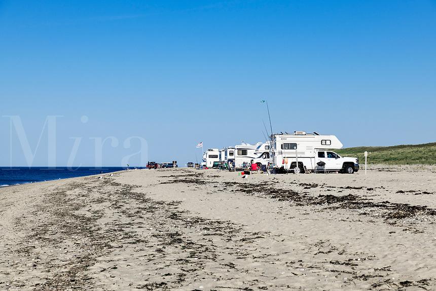 RV's set up camp along Race Point Beach, Provincetown, Cape Cod, Massachusetts, USA.