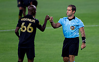 LOS ANGELES, CA - SEPTEMBER 02: Bradley Wright-Phillips #66 of LAFC bumps referee Alex Chilowicz during a game between San Jose Earthquakes and Los Angeles FC at Banc of California stadium on September 02, 2020 in Los Angeles, California.