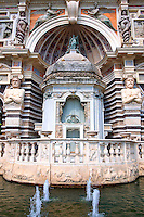 Kiosk built in 17th century to protect the organ pipes. The Organ fountain, 1566, housing organ pipies driven by air from the fountains. Villa d'Este, Tivoli, Italy - Unesco World Heritage Site.