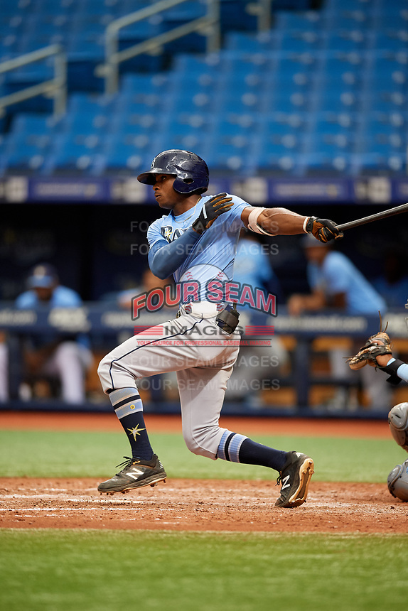 K.V. Edwards (5) follows through on a swing during the Tampa Bay Rays Instructional League Intrasquad World Series game on October 3, 2018 at the Tropicana Field in St. Petersburg, Florida.  (Mike Janes/Four Seam Images)