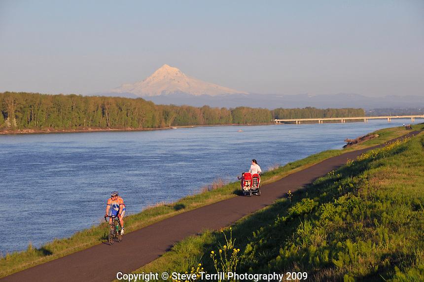 Bike path along Columbia River with Mt Hood