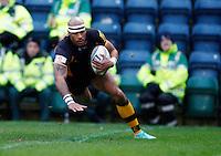 Photo: Richard Lane/Richard Lane Photography. London Wasps v Rugby Mogliano. Amlin Challenge Cup. 12/01/2013. Wasps' Tom Varndell scores try one.