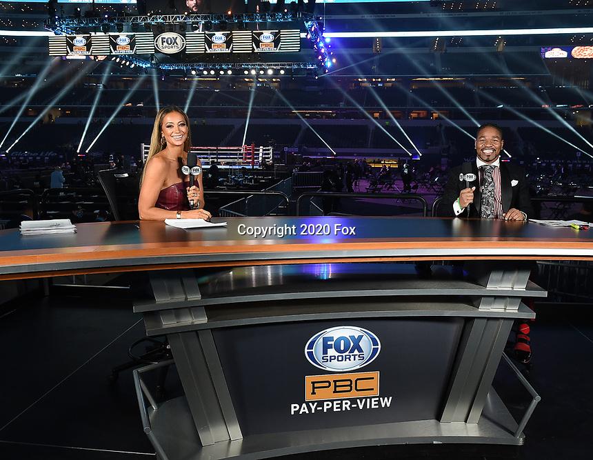 ARLINGTON, TX - DECEMBER 5: Kate Abdo and Shawn Porter on Fox Sports PBC Pay-Per-View fight night at AT&T Stadium in Arlington, Texas on December 5, 2020. (Photo by Frank Micelotta/Fox Sports)