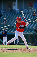 Jacob Cozart (38) bats during the Baseball Factory All-Star Classic at Dr. Pepper Ballpark on October 4, 2020 in Frisco, Texas.  Jacob Cozart (38), a resident of High Point, North Carolina, attends Wesleyan Christian High School.  (Mike Augustin/Four Seam Images)
