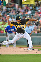 Kurt Spomer (20) of the Salt Lake Bees delivers a pitch to the plate against the Las Vegas 51s in Pacific Coast League action at Smith's Ballpark on June 25, 2015 in Salt Lake City, Utah.Las Vegas defeated Salt Lake 20-8.  (Stephen Smith/Four Seam Images)