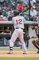 Mookie Betts (12) of the Pawtucket Red Sox at bat against the Charlotte Knights at BB&T Ballpark on August 9, 2014 in Charlotte, North Carolina.  The Red Sox defeated the Knights  5-2.  (Brian Westerholt/Four Seam Images)