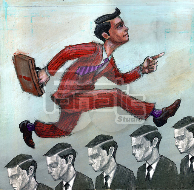 Businessman running over other businesspeople