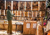 Sand-painter Malian-Senegalese Artist Boubacar Dia in his Studio,  Goree Island, Dakar, Senegal. Model released.